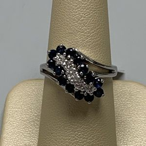 Jewelry - 14K White Gold Diamond and Sapphire Ring Size 7